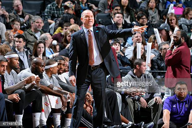 Head Coach Michael Malone of the Sacramento Kings instructs his team during the game against the Brooklyn Nets on March 9 2014 at the Barclays Center...