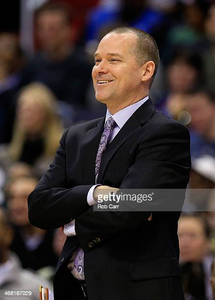 Head coach Michael Malone of the Sacramento Kings looks on from the bench during the first half against the Washington Wizards at Verizon Center on...