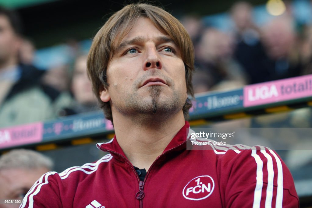 Head coach Michael Oenning of Nuernberg looks on prior the Bundesliga match between VfL Wolfsburg and 1 FC Nuernberg at the Volkswagen Arena on...