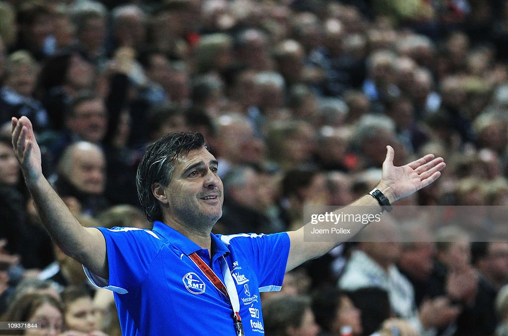 Head coach Michael Roth of Melsungen gestures during the Toyota Handball Bundesliga match between THW Kiel and MT Melsungen at the Sparkassen Arena on February 23, 2011 in Kiel, Germany.