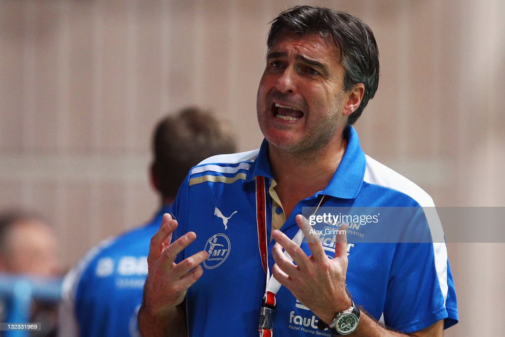 Head coach Michael Roth of Melsungen reacts during the Toyota Handball Bundesliga match between T VGrosswallstadt and MT Melsungen at f.a.n. frankenstolz arena on November 11, 2011 in Aschaffenburg, Germany.