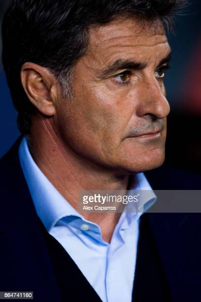 Head coach Michel of Malaga CF looks on before the La Liga match between Barcelona and Malaga at Camp Nou on October 21 2017 in Barcelona Spain