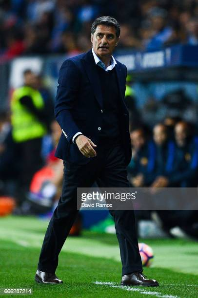 Head coach Michel of Malaga CF looks on during the La Liga match between Malaga CF and FC Barcelona at La Rosaleda stadium on April 8 2017 in Malaga...