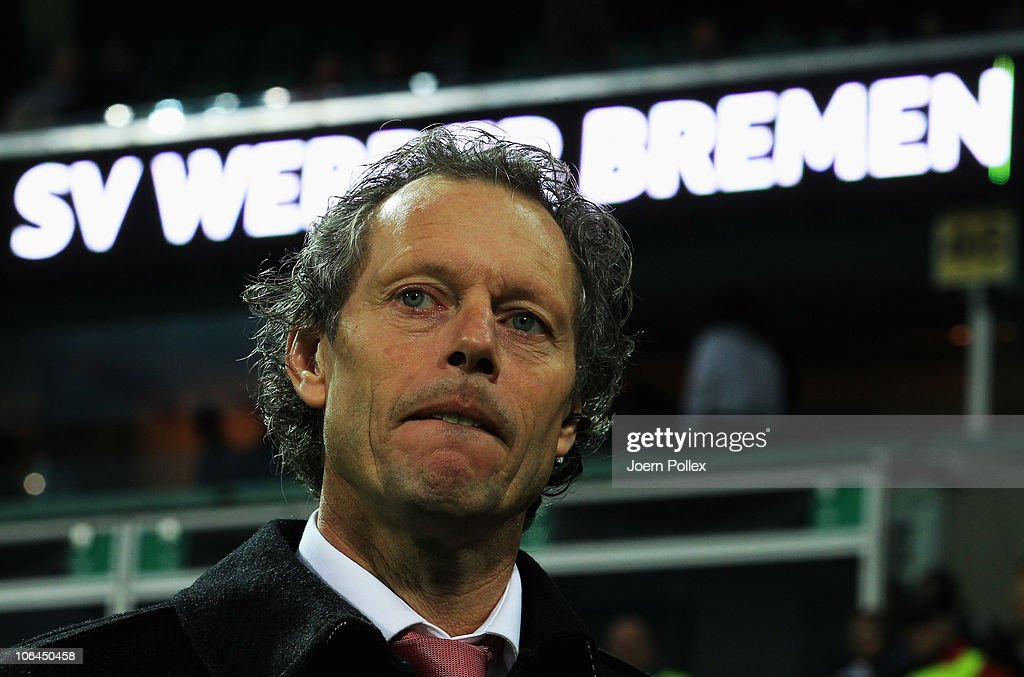 Head coach <a gi-track='captionPersonalityLinkClicked' href=/galleries/search?phrase=Michel+Preud%27homme&family=editorial&specificpeople=2514028 ng-click='$event.stopPropagation()'>Michel Preud'homme</a> of Twente is pictured prior to the UEFA Champions League group A match between SV Werder Bremen and FC Twente at Weser Stadium on November 2, 2010 in Bremen, Germany.