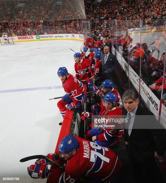 Head coach Michel Therrien of the Montreal Canadiens handles bench duties during the game against the Philadelphia Flyers at the Wells Fargo Center...