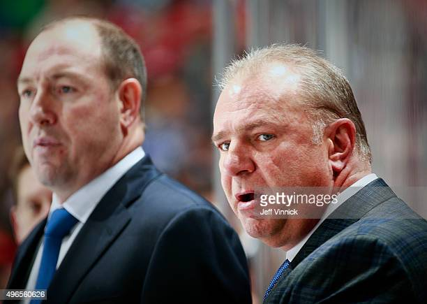 Head coach Michel Therrien of the Montreal Canadiens looks on from the bench during their NHL game against the Vancouver Canucks at Rogers Arena...