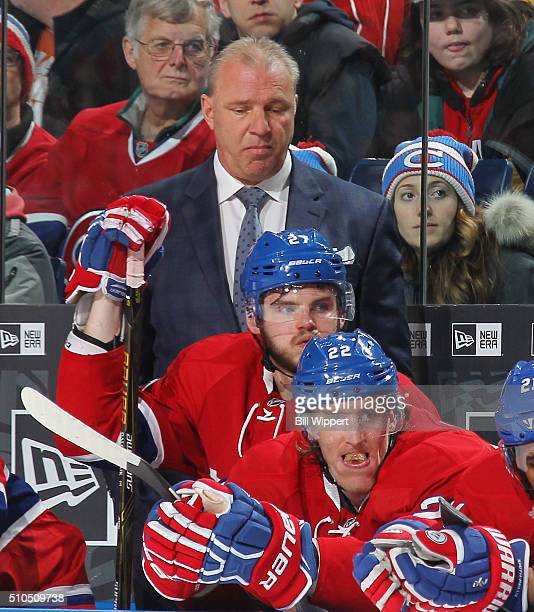 Head coach Michel Therrien of the Montreal Canadiens reacts during a 64 loss to the Buffalo Sabres in an NHL game on February 12 2016 at the First...