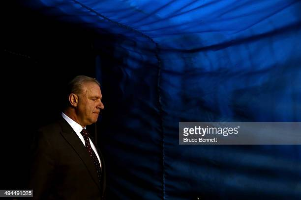 Head Coach Michel Therrien of the Montreal Canadiens walks out to the ice for warmups prior to the start of the game against the New York Rangers...
