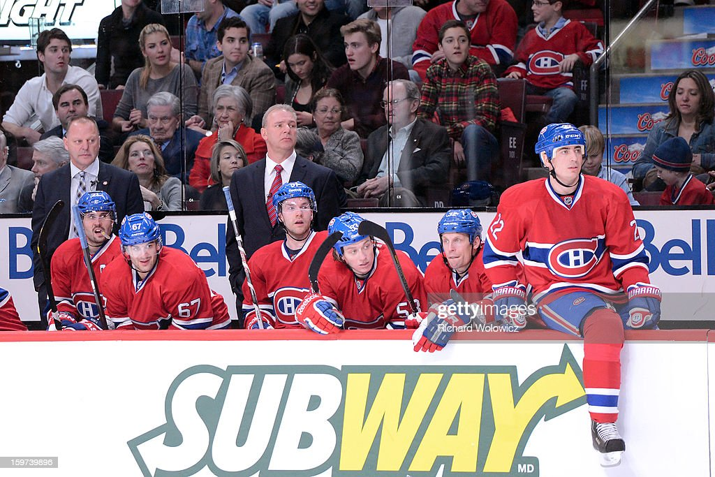 Head coach <a gi-track='captionPersonalityLinkClicked' href=/galleries/search?phrase=Michel+Therrien&family=editorial&specificpeople=241575 ng-click='$event.stopPropagation()'>Michel Therrien</a> of the Montreal Canadiens watches play during the NHL game against the Toronto Maple Leafs at the Bell Centre on January 19, 2013 in Montreal, Quebec, Canada. The Maple Leafs defeated the Canadiens 2-1.