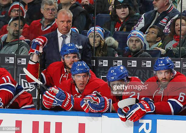 Head coach Michel Therrien of the Montreal Canadiens watches the action during a 64 loss to the Buffalo Sabres in an NHL game on February 12 2016 at...