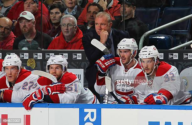 Head coach Michel Therrien of the Montreal Canadiens watches the action against the Buffalo Sabres during an NHL game on October 23 2015 at the First...