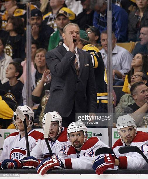 Head coach Michel Therrien of the Montreal Canadiens yells to his goaltender during the game against the Boston Bruins during Game Five of the Second...