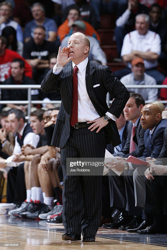Head coach Mick Cronin of the Cincinnati Bearcats looks on against the New Mexico Lobos during the game at Fifth Third Arena on December 27, 2012 in Cincinnati, Ohio. New Mexico won 55-54.
