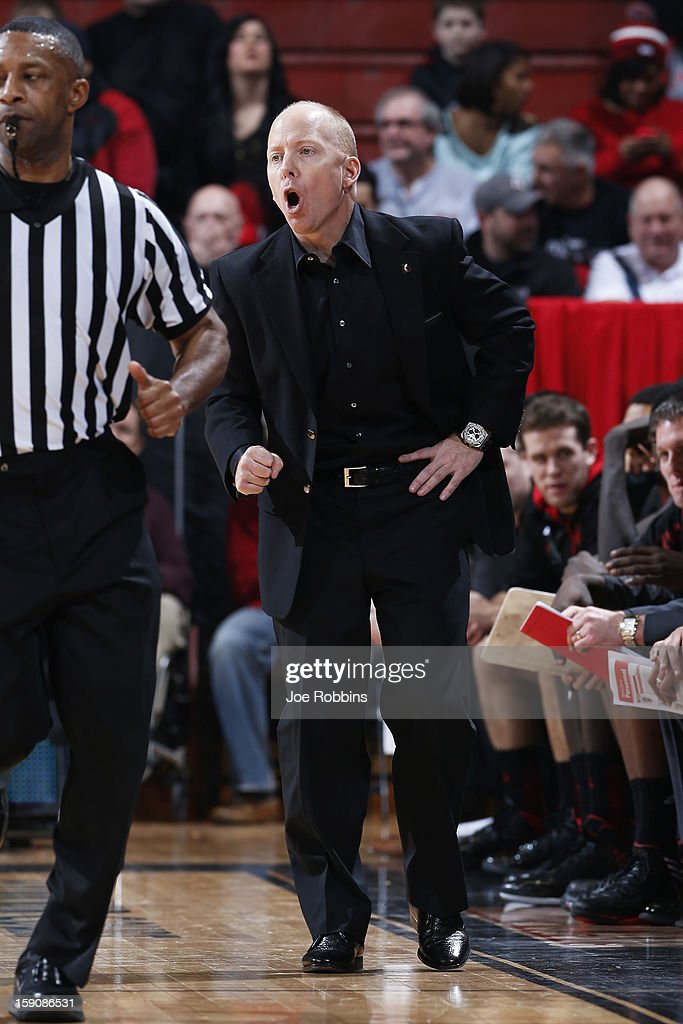 Head coach Mick Cronin of the Cincinnati Bearcats looks on against the Notre Dame Fighting Irish during the game at Fifth Third Arena on January 7, 2013 in Cincinnati, Ohio. Notre Dame won 66-60.