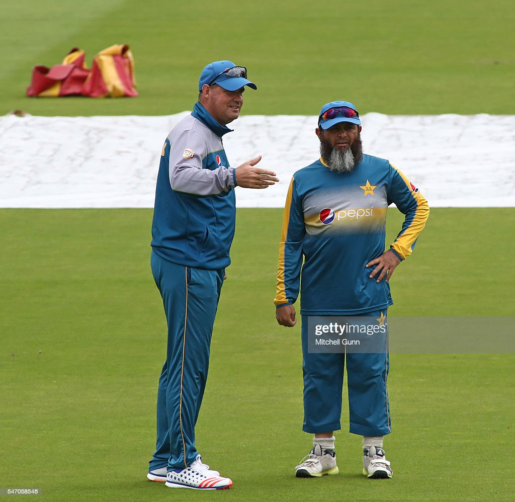 Head coach Mickey Arthur and bowling coach Mushtaq Ahmed during the Pakistan nets session ahead of the 1st Investec Test match between England and...