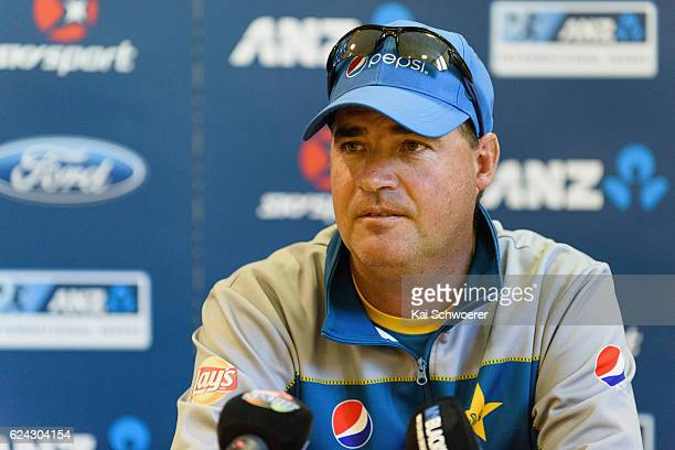 Head Coach Mickey Arthur of Pakistan speaks to the media during a press conference following day three of the First Test between New Zealand and...