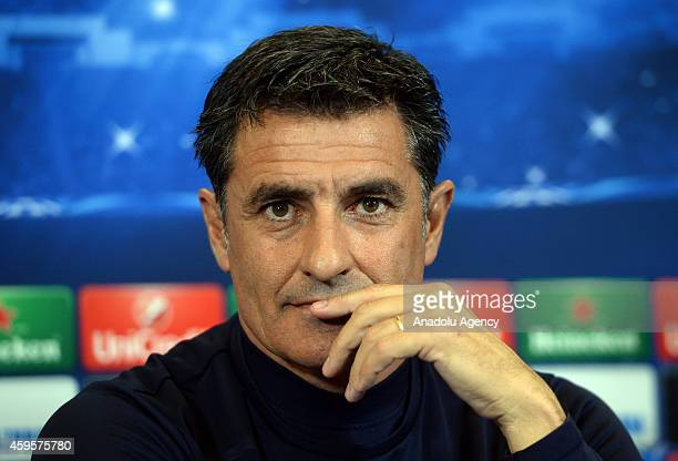 Head coach Miguel González Martín del Campo attends a Olympiacos FC press conference ahead of their UEFA Champions League match against Atletico...