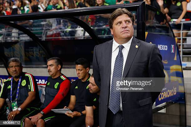 Head coach Miguel Herrera of Mexico during the 2015 CONCACAF Gold Cup group C match against Guatemala at University of Phoenix Stadium on July 12...