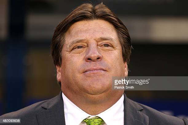 Head coach Miguel Herrera of Mexico looks on before playing against Jamaica in the CONCACAF Gold Cup Final at Lincoln Financial Field on July 26 2015...