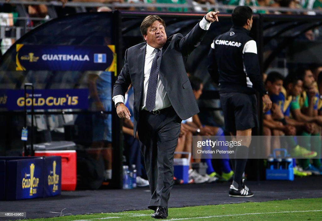 Head coach Miguel Herrera of Mexico reacts on the sidelines during the 2015 CONCACAF Gold Cup group C match against Guatemala at University of Phoenix Stadium on July 12, 2015 in Glendale, Arizona. Guatemala and Mexico finished in a 0-0 tie.