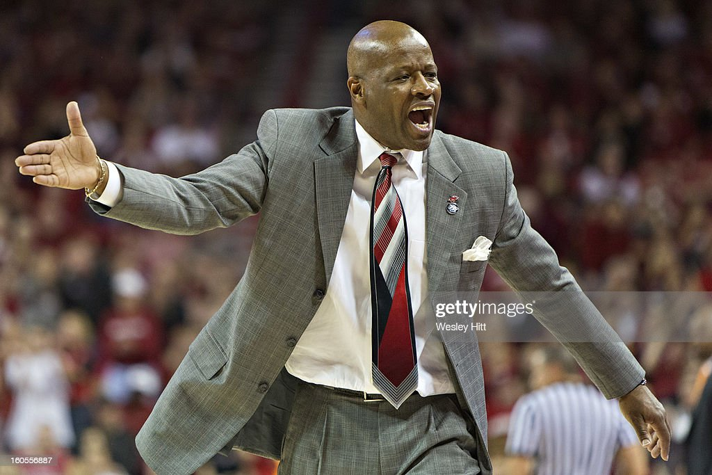 Head Coach Mike Anderson of the Arkansas Razorbacks yells at his team during a game against the Tennessee Volunteers at Bud Walton Arena on February 2, 2013 in Fayetteville, Arkansas. The Razorbacks defeated the Volunteers 73-60.