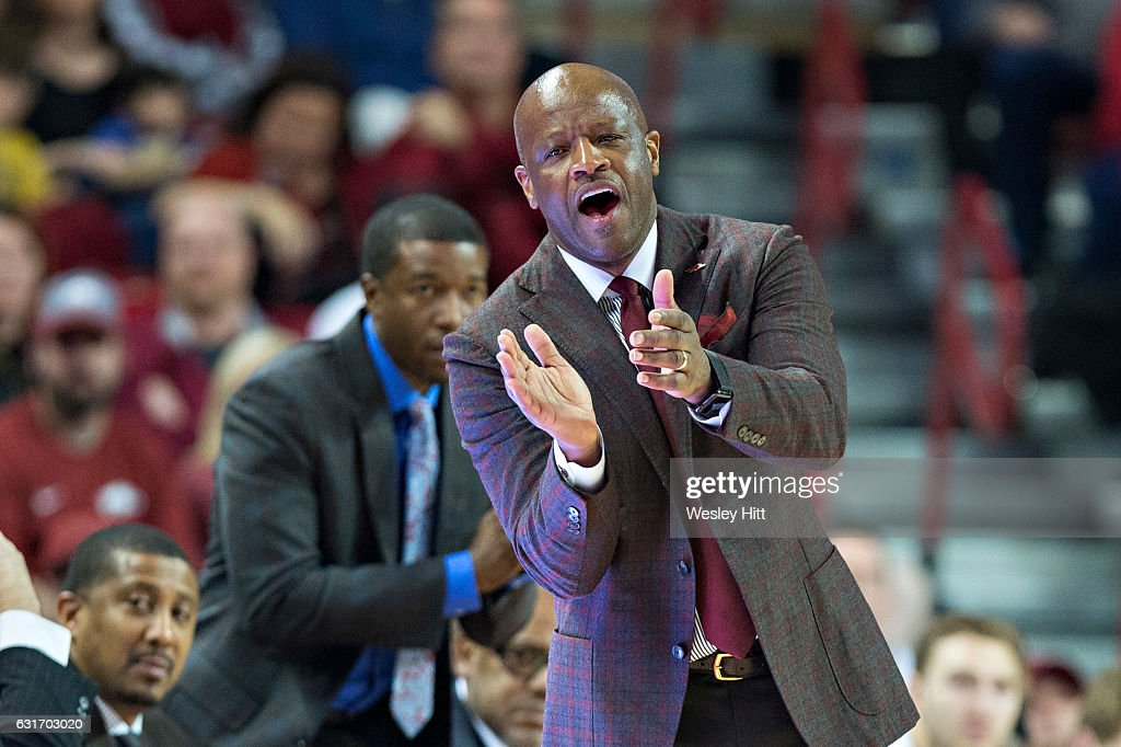 Head Coach Mike Anderson of the Arkansas Razorbacks yells to his team during a game against the Missouri Tigers at Bud Walton Arena on January 14, 2017 in Fayetteville, Arkansas. The Razorbacks defeated the Tigers 92-73.