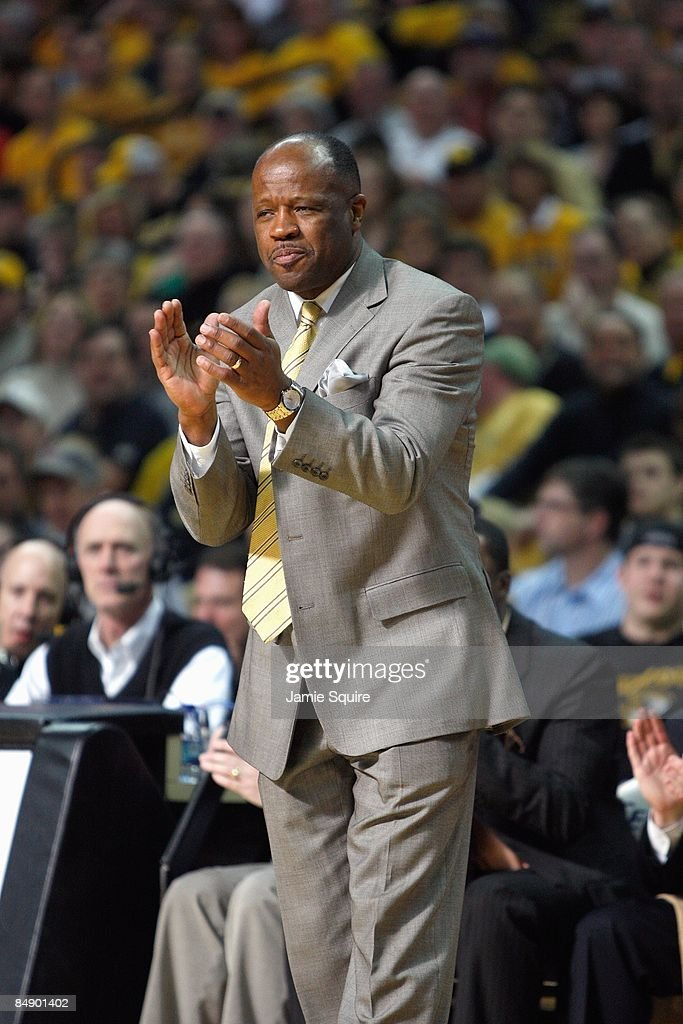 Head coach Mike Anderson of the Missouri Tigers coaches against the Nebraska Huskers during the game on February 14 2009 at Mizzou Arena in Columbia...