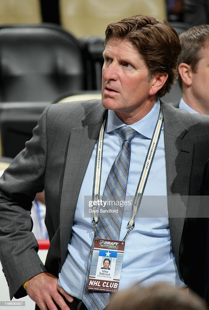 Head coach Mike Babcock of the Detroit Red Wings attends day two of the 2012 NHL Entry Draft at Consol Energy Center on June 23, 2012 in Pittsburgh, Pennsylvania.