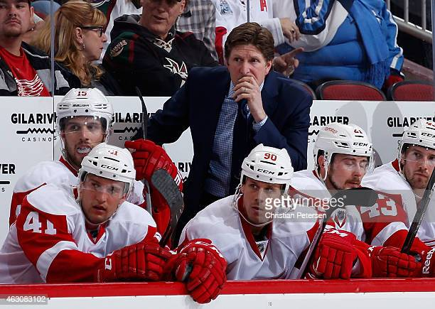 Head coach Mike Babcock of the Detroit Red Wings on the bench during the NHL game against the Arizona Coyotes at Gila River Arena on February 7 2015...