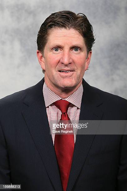 Head coach Mike Babcock of the Detroit Red Wings poses for his official headshot for the 20122013 season at Compuware Ice Arena on January 13 2013 in...