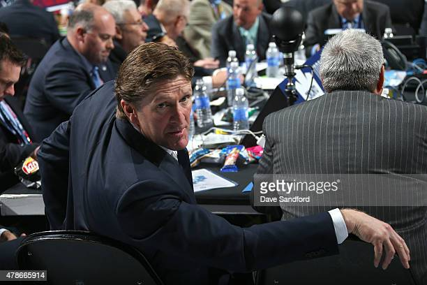 Head coach Mike Babcock of the Toronto Maple Leafs attends Round One of the 2015 NHL Draft at BBT Center on June 26 2015 in Sunrise Florida