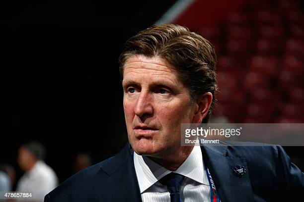 Head coach Mike Babcock of the Toronto Maple Leafs looks on prior to the first round of the 2015 NHL Draft at BBT Center on June 26 2015 in Sunrise...