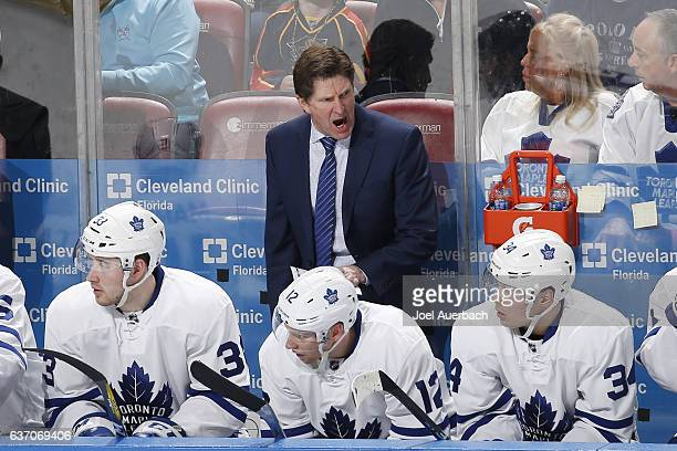 Head Coach Mike Babcock of the Toronto Maple Leafs reacts to third period action against the Florida Panthers at the BBT Center on December 28 2016...