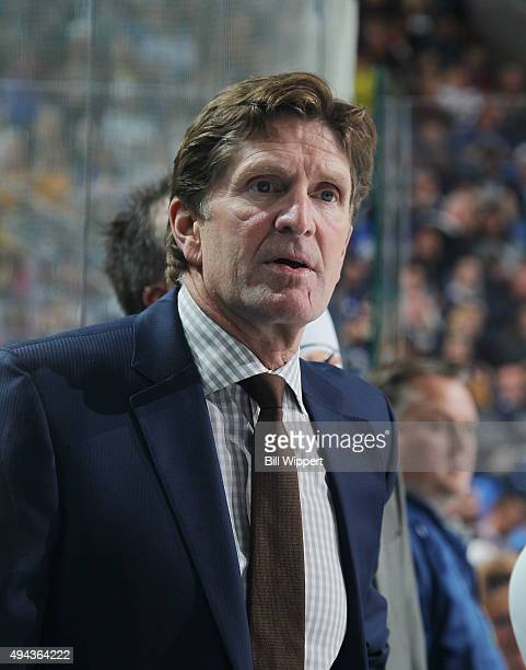 Head coach Mike Babcock of the Toronto Maple Leafs watches the action during an NHL game against the Buffalo Sabres on October 21 2015 at the First...
