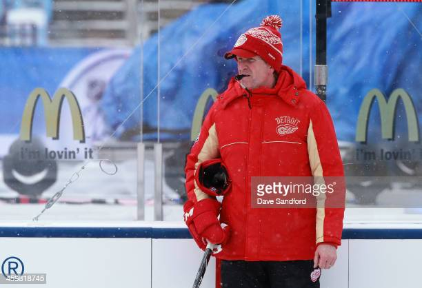Head Coach Mike Babcock watches his team practice during 2014 Bridgestone NHL Winter Classic team practice session on December 31 2013 at Michigan...