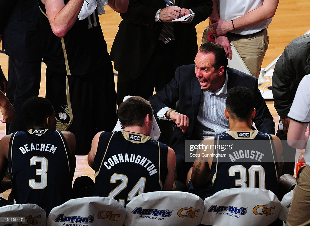Head Coach <a gi-track='captionPersonalityLinkClicked' href=/galleries/search?phrase=Mike+Brey&family=editorial&specificpeople=221188 ng-click='$event.stopPropagation()'>Mike Brey</a> of the Notre Dame Fighting Irish discusses a play during the game against the Georgia Tech Yellow Jackets at McCamish Pavilion on January 11, 2014 in Atlanta, Georgia. Photo by Scott Cunningham/Getty Images)