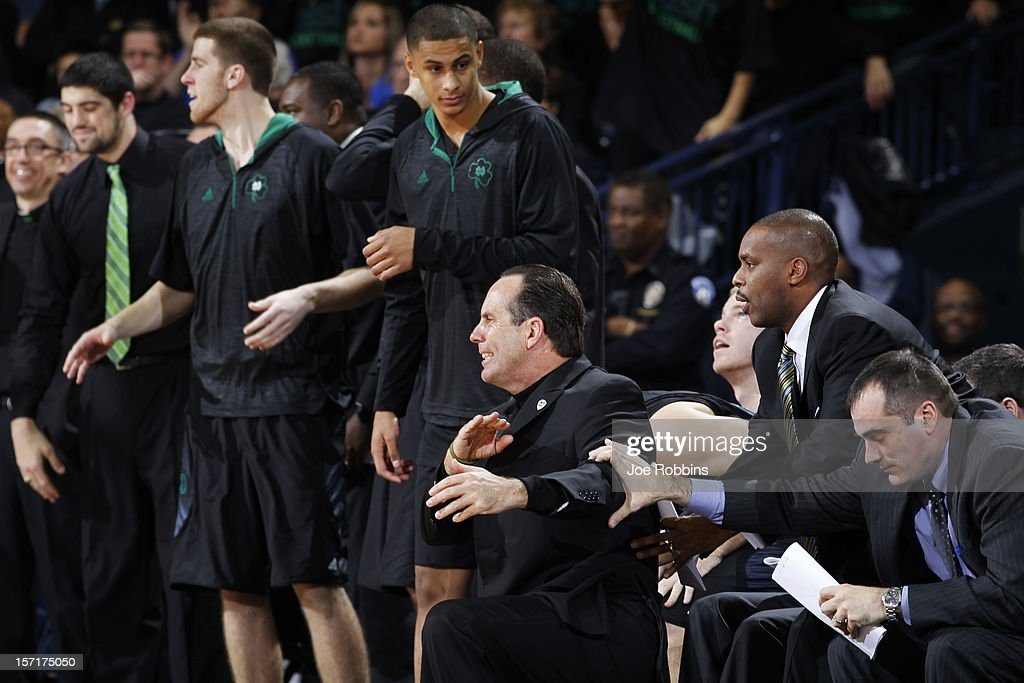 Head coach <a gi-track='captionPersonalityLinkClicked' href=/galleries/search?phrase=Mike+Brey&family=editorial&specificpeople=221188 ng-click='$event.stopPropagation()'>Mike Brey</a> of the Notre Dame Fighting Irish reacts against the Kentucky Wildcats during the game at Purcell Pavilion at the Joyce Center on November 29, 2012 in South Bend, Indiana.