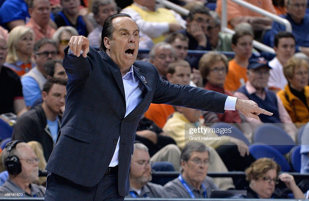 Head coach <a gi-track='captionPersonalityLinkClicked' href=/galleries/search?phrase=Mike+Brey&family=editorial&specificpeople=221188 ng-click='$event.stopPropagation()'>Mike Brey</a> of the Notre Dame Fighting Irish reacts against the Duke Blue Devils during the semifinals of the 2015 ACC Basketball Tournament at Greensboro Coliseum on March 13, 2015 in Greensboro, North Carolina.