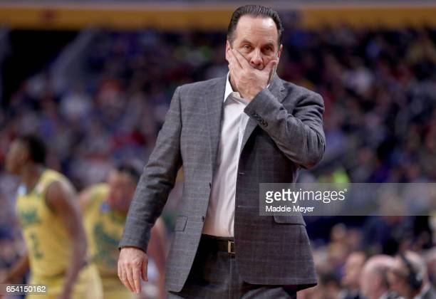 Head coach Mike Brey of the Notre Dame Fighting Irish reacts against the Princeton Tigers during the first round of the 2017 NCAA Men's Basketball...