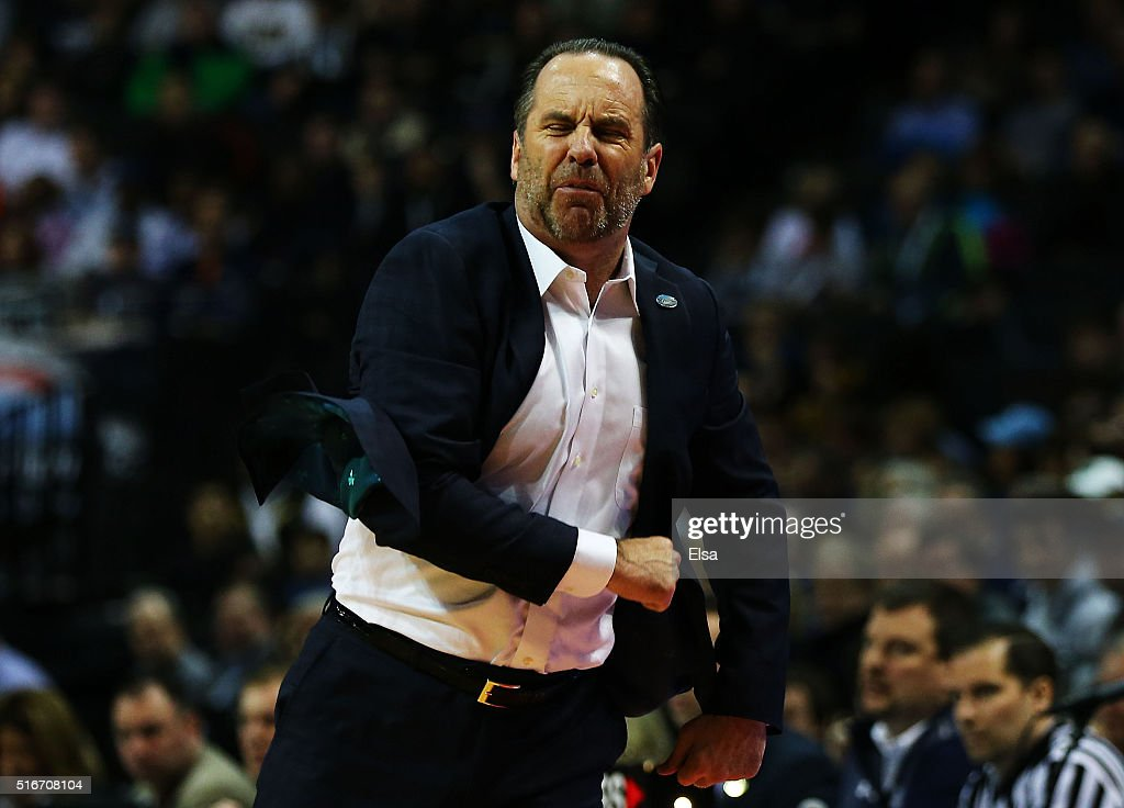 Head coach <a gi-track='captionPersonalityLinkClicked' href=/galleries/search?phrase=Mike+Brey&family=editorial&specificpeople=221188 ng-click='$event.stopPropagation()'>Mike Brey</a> of the Notre Dame Fighting Irish reacts in the first half against the Stephen F. Austin Lumberjacks during the second round of the 2016 NCAA Men's Basketball Tournament at Barclays Center on March 20, 2016 in the Brooklyn borough of New York City.
