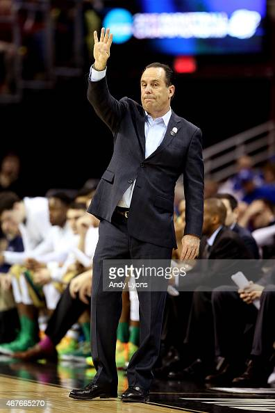 Head coach Mike Brey of the Notre Dame Fighting Irish reacts on the sideline in the first half against the Wichita State Shockers during the Midwest...