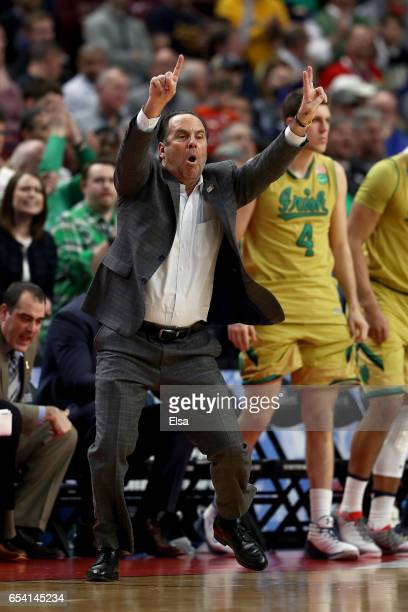 Head coach Mike Brey of the Notre Dame Fighting Irish shouts against the Princeton Tigers during the first round of the 2017 NCAA Men's Basketball...