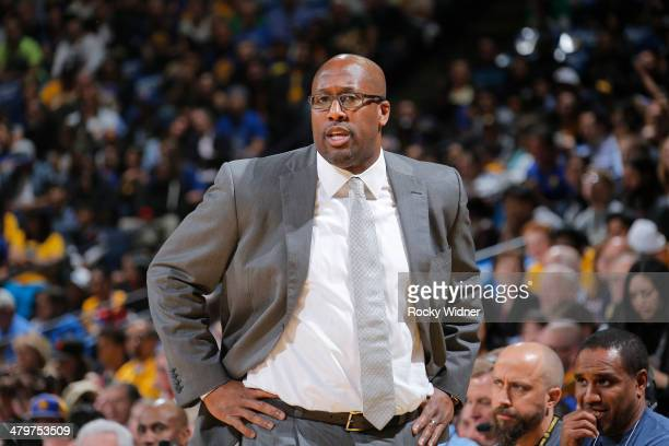 Head Coach Mike Brown of the Cleveland Cavaliers coaches against the Golden State Warriors on March 14 2014 at Oracle Arena in Oakland California...