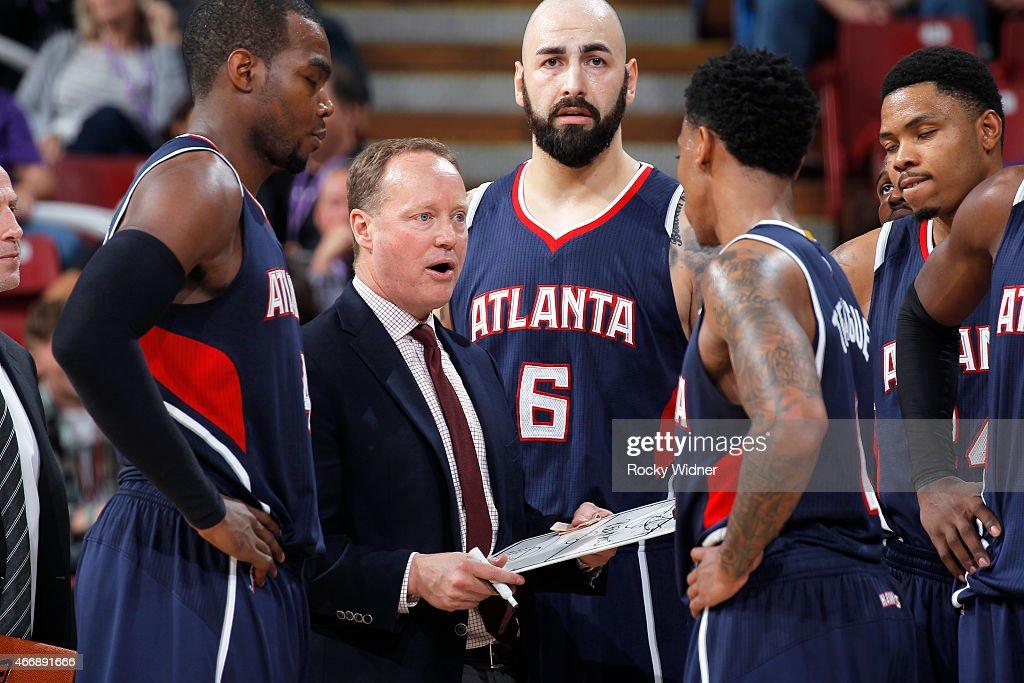 Head coach Mike Budenholzer of the Atlanta Hawks coaches against the Sacramento Kings on March 16 2015 at Sleep Train Arena in Sacramento California...