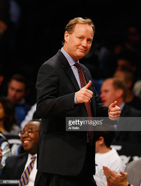 Head Coach Mike Budenholzer of the Atlanta Hawks coaches against the Brooklyn Nets during their game at The Barclays Center on November 17 2015 in...