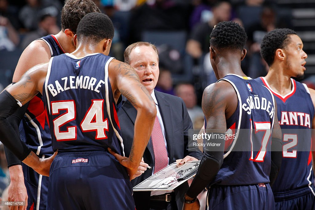 Head coach Mike Budenholzer of the Atlanta Hawks coaches his team against the Charlotte Hornets on March 28 2015 at Time Warner Cable Arena in...