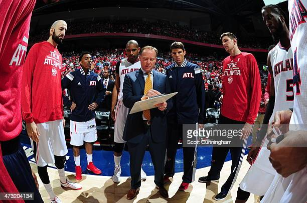 Head Coach Mike Budenholzer of the Atlanta Hawks draws up a play against the Washington Wizards in Game Five of the Eastern Conference Semifinals...