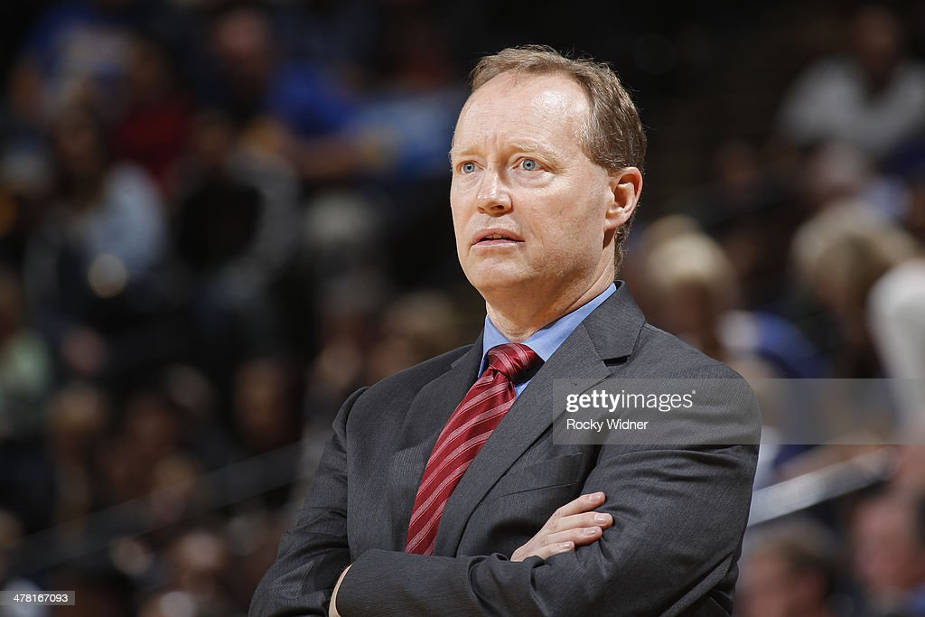 Head Coach Mike Budenholzer of the Atlanta Hawks during a game against the Golden State Warriors on March 7, 2014 at Oracle Arena in Oakland, California.