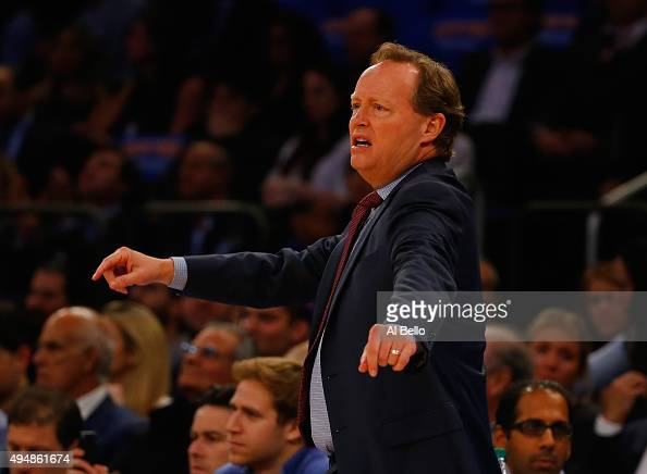 Head Coach Mike Budenholzer of the Atlanta Hawks during their game at Madison Square Garden on October 29 2015 in New York City NOTE TO USER User...