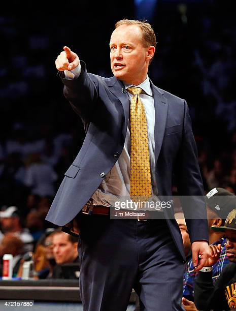 Head coach Mike Budenholzer of the Atlanta Hawks in action against the Brooklyn Nets during game six in the first round of the 2015 NBA Playoffs at...